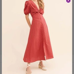 🆕 Glamorous Puff Sleeves Knot Front Maxi Dress